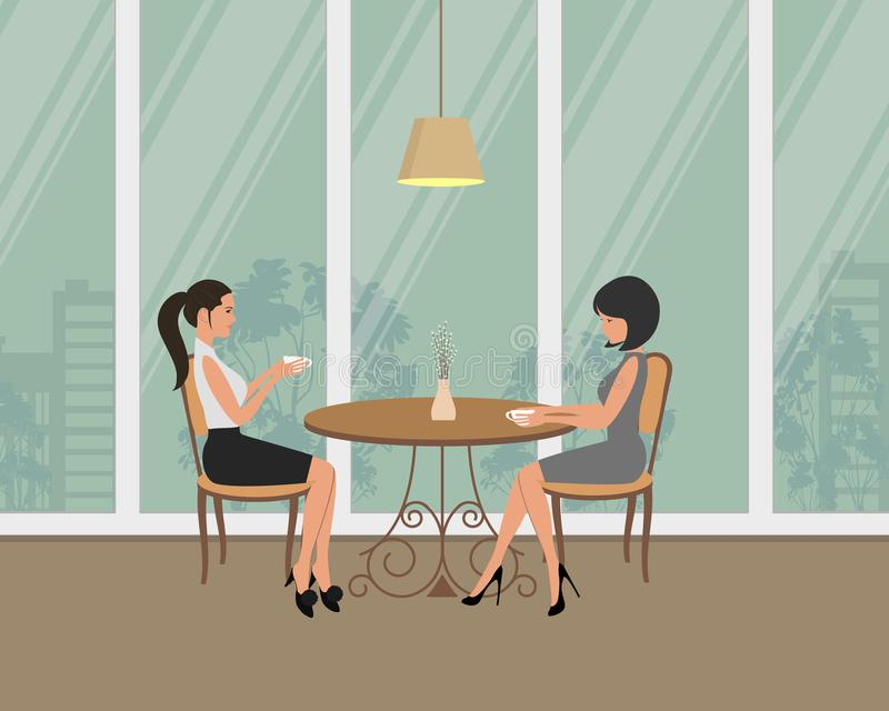 Two girls in the cafe. Young women, sitting at the table and drinking coffee on a window background. Two girls in the cafe. There are young women, sitting at the royalty free illustration