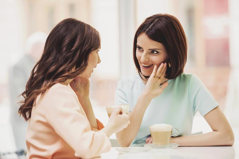 Two Girls Chatting in Cafeteria with Cups of Coffee. Two Young Attractive Smiling Brunette Women Chatting in Cafeteria with Coffe in Glass Cups. Smiling royalty free stock photography