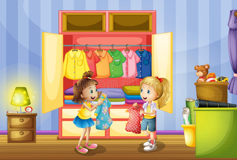 Two girls choosing clothes from closet royalty free illustration