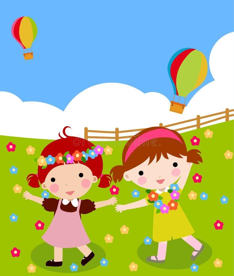 Two girls dancing stock illustration