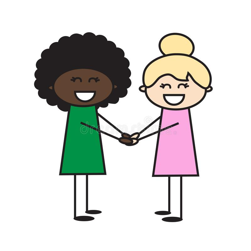 Two Girls Of Different Race Are Friends. Friendship Of Peoples. Stock  Vector - Illustration of happy, american: 127803691