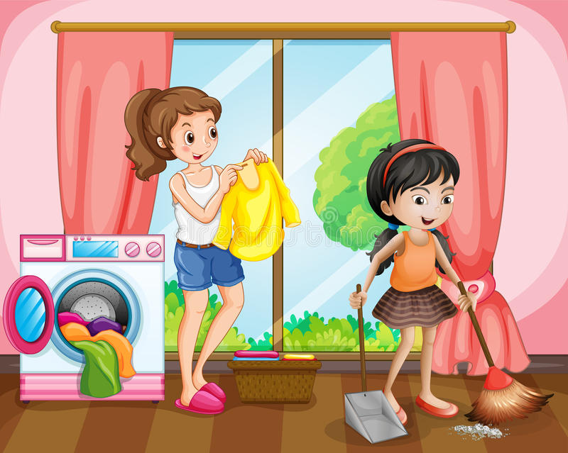 Two girls doing chores at home. Illustration stock illustration