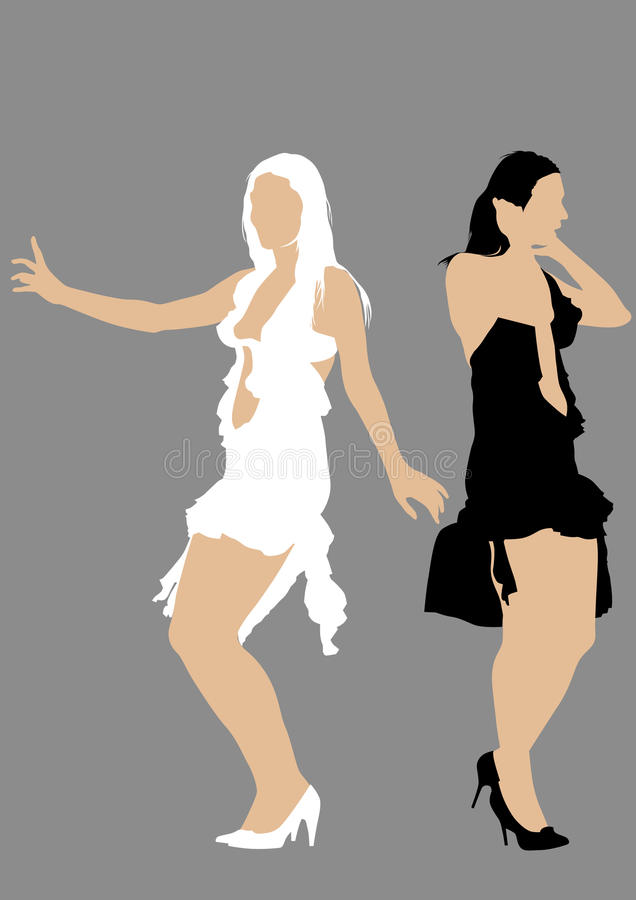 Download Two girls in dress stock vector. Image of lady, cartoon - 22948391
