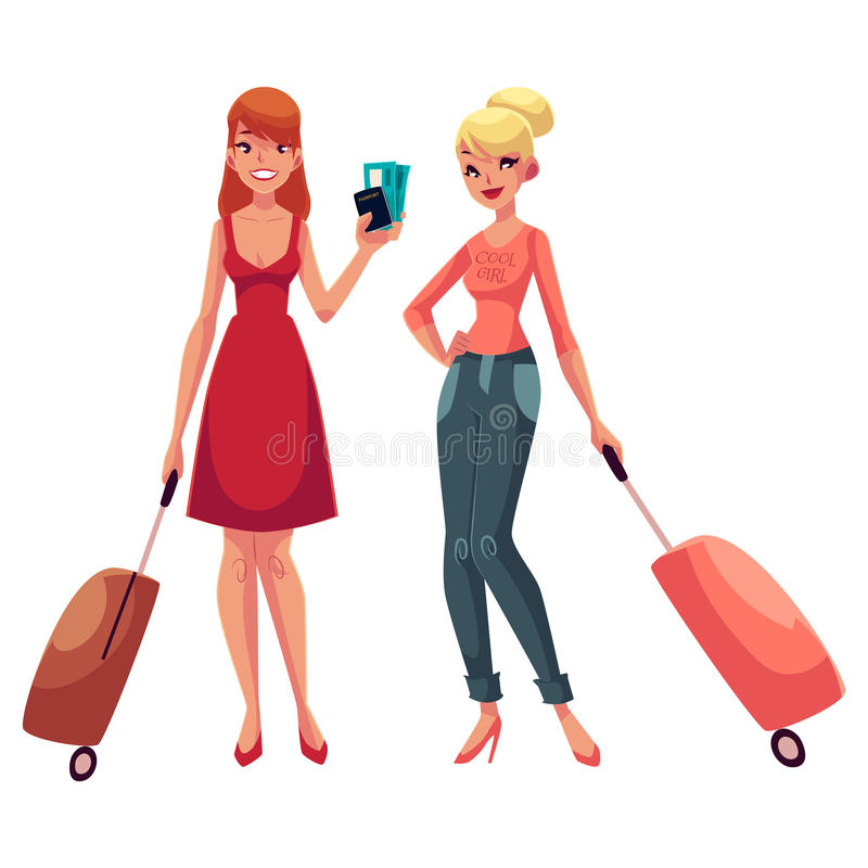 Two girls, in dress and jeans, travelling together with suitcases. One holding tickets, another wearing backpack, cartoon illustration isolated on white royalty free illustration