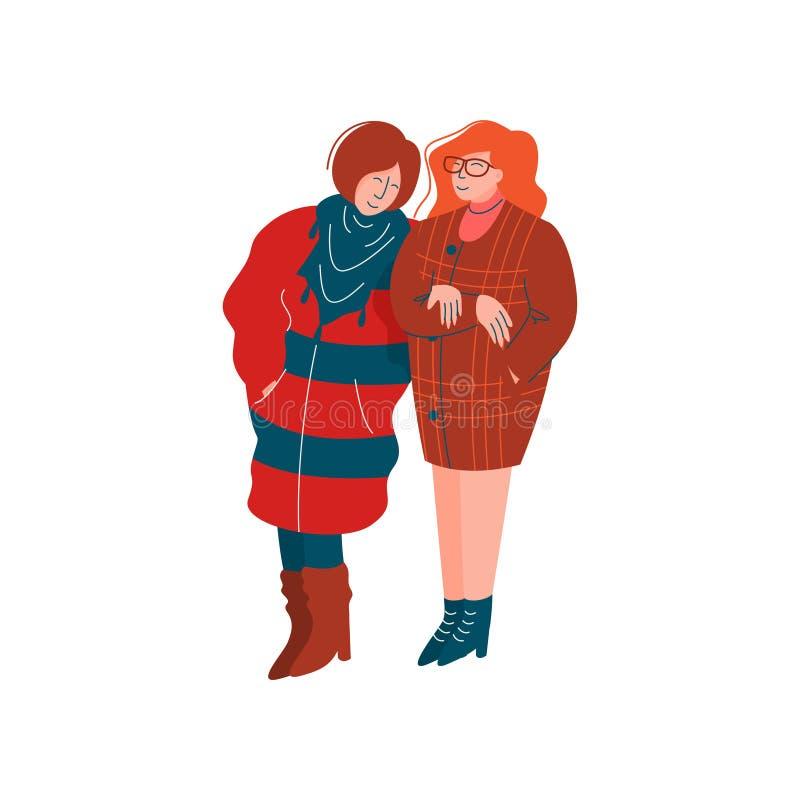 Two Girls Dressed in Stylish Seasonal Clothes Walking, Spring Season Outdoor Activities Vector Illustration stock illustration