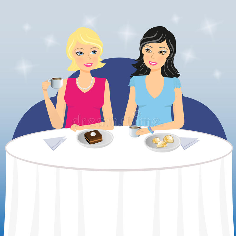 Two Girls Drink Coffee With Dessert Stock Illustration ...