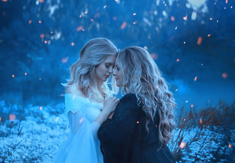 Two girls of the elements, opposites, love each other cuddly with affection. Background fog and mysterious forest. Around them, sparks, flashes of magic. Yin royalty free stock photo