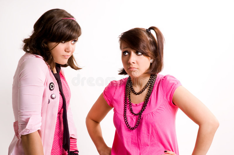 Two girls emo. Dialogue expressing stock photography