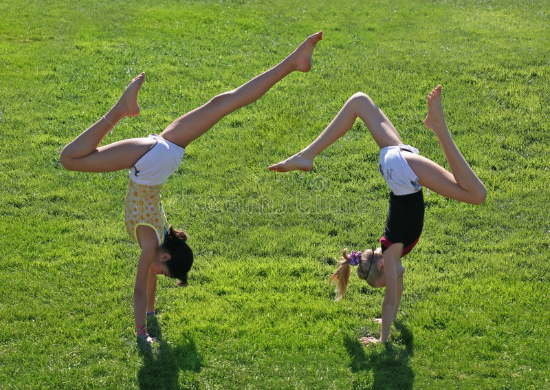 Download Two girls exercising stock image. Image of green, female - 6716425