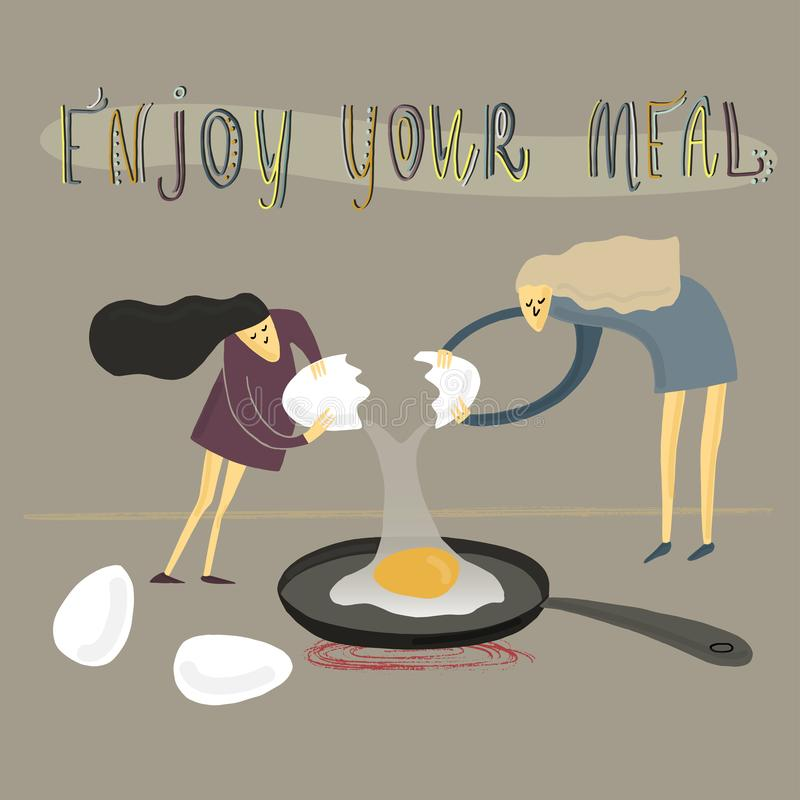 Two girls fry an egg. Stylized people. Vector illustration. Two girls fry an egg. Big and small. Stylized people. Vector illustration vector illustration