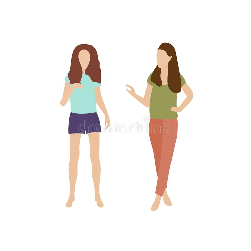 Two girls go and talk. Young women in summer clothes chatting. Conversation of two people walking. People talk stock illustration
