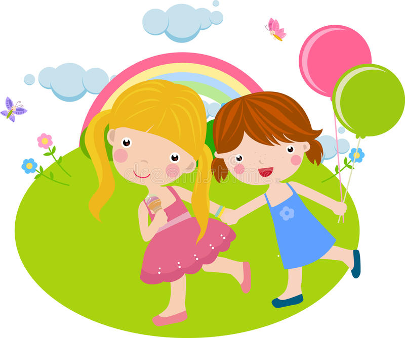 Download Two girls are good friend stock vector. Illustration of birthday - 12818230
