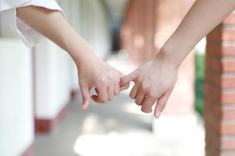 Two girls hand in hand hand close up stand for friendship. Two girls hand in hand hand close up two girls hand in hand in school before classroom at the porch stock images
