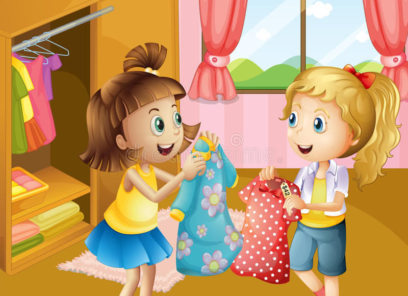 Two girls holding their new dresses royalty free illustration
