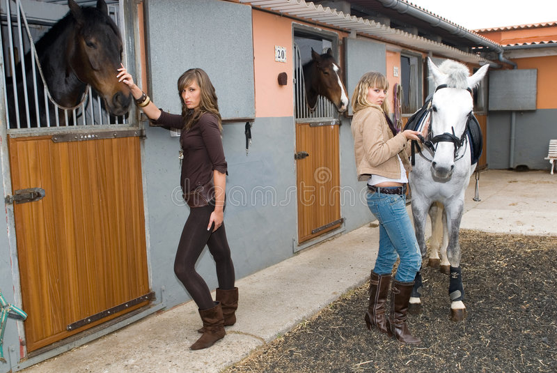 Two girls with horses royalty free stock image