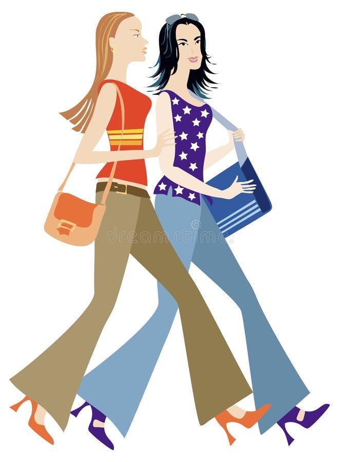 Two girls hurry stock illustration