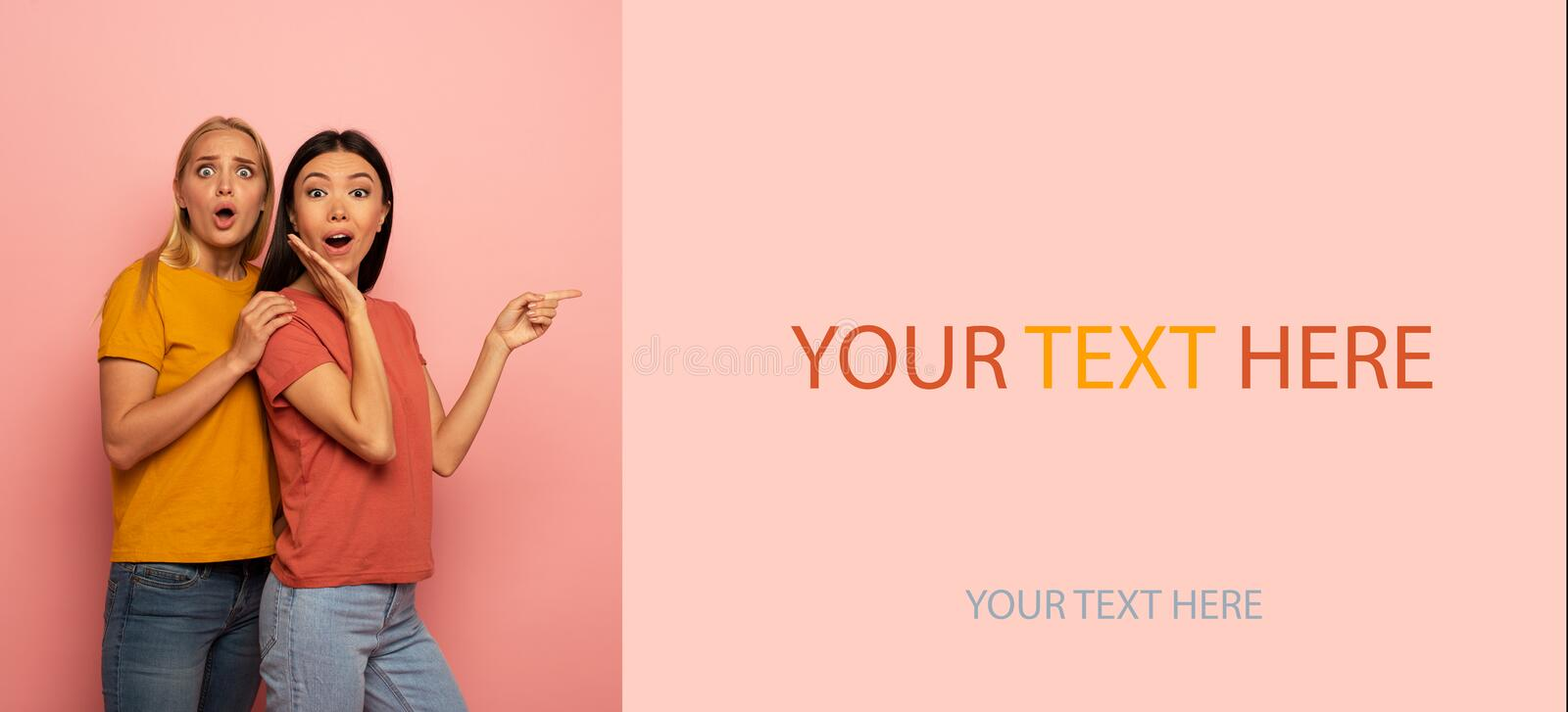 Two girls indicates something. Amazed expression face. Pink background with blank space for your text royalty free stock image