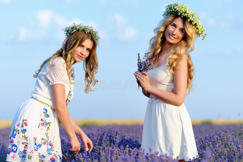 Two girls in a lavender field stock photography