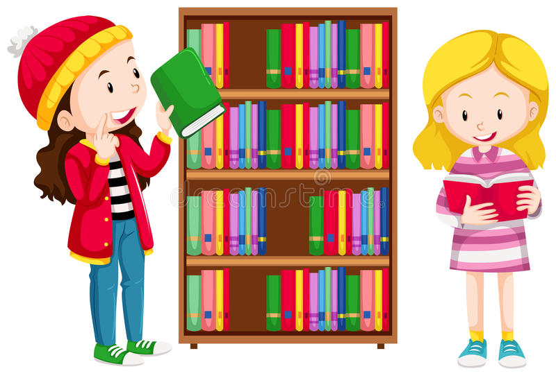 Two girls in the library vector illustration