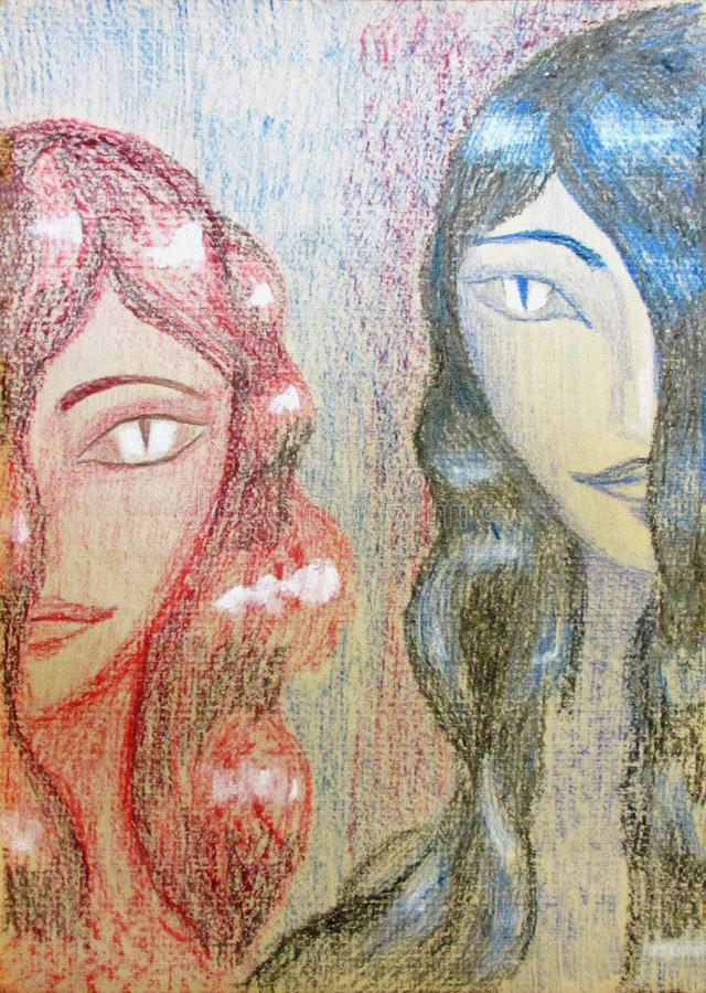 Two girls with long hair and narrow eyes of the Chimera pencil crayon stock illustration