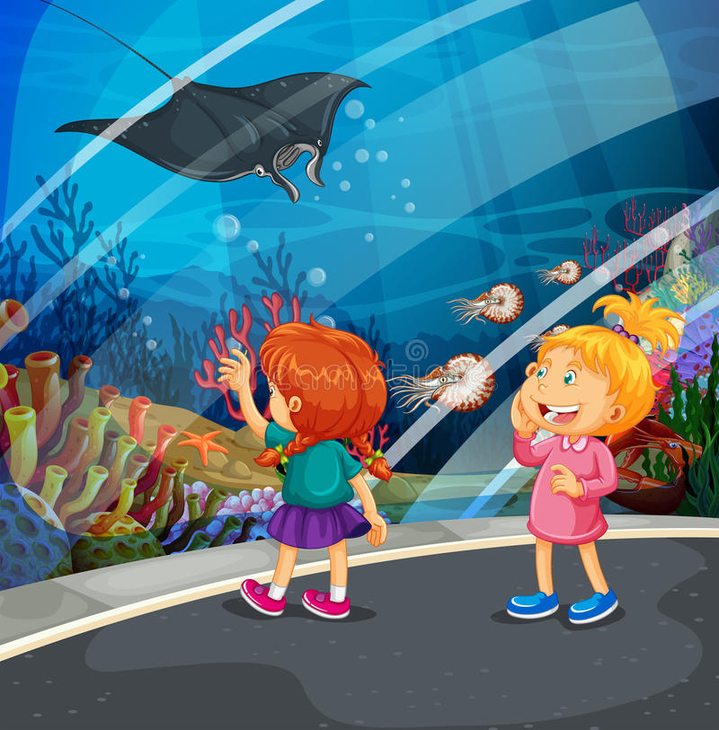 Two girls looking at stingray at the aquarium. Illustration royalty free illustration