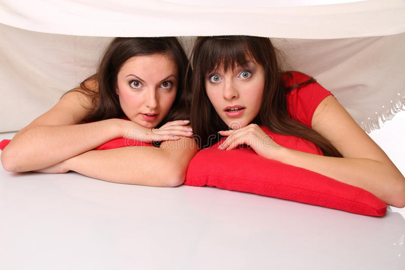 Download Two Girls Lying On The Floor Stock Photo - Image of isolated, little: 17852890
