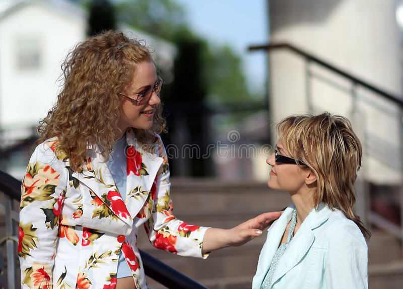 Download Two Girls Meeting And Talking Stock Photo - Image: 1206964