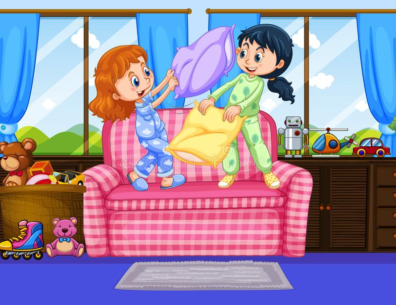 Two girls in pajamas playing pillow fight in room. Illustration stock illustration