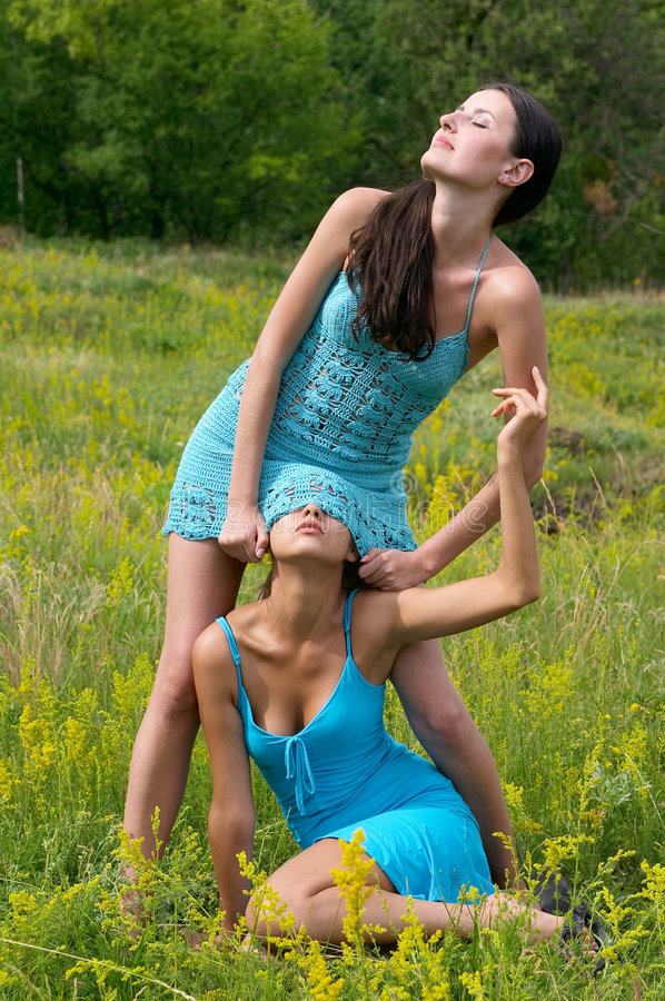 Two girls playing outdoor