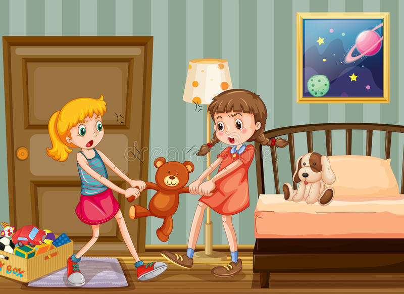 Download Two Girls Pulling Teddy Bear In Bedroom Stock Illustration