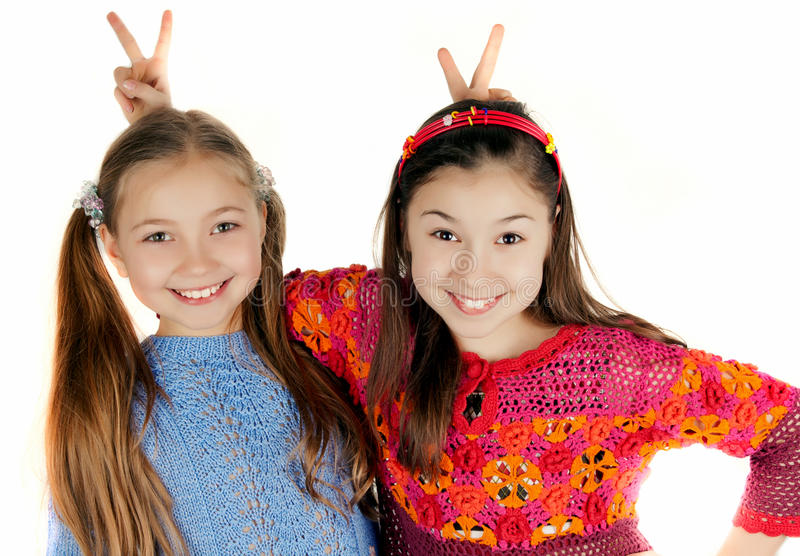 Download Two Girls Put To Each Other Horn Stock Photo - Image: 26646026