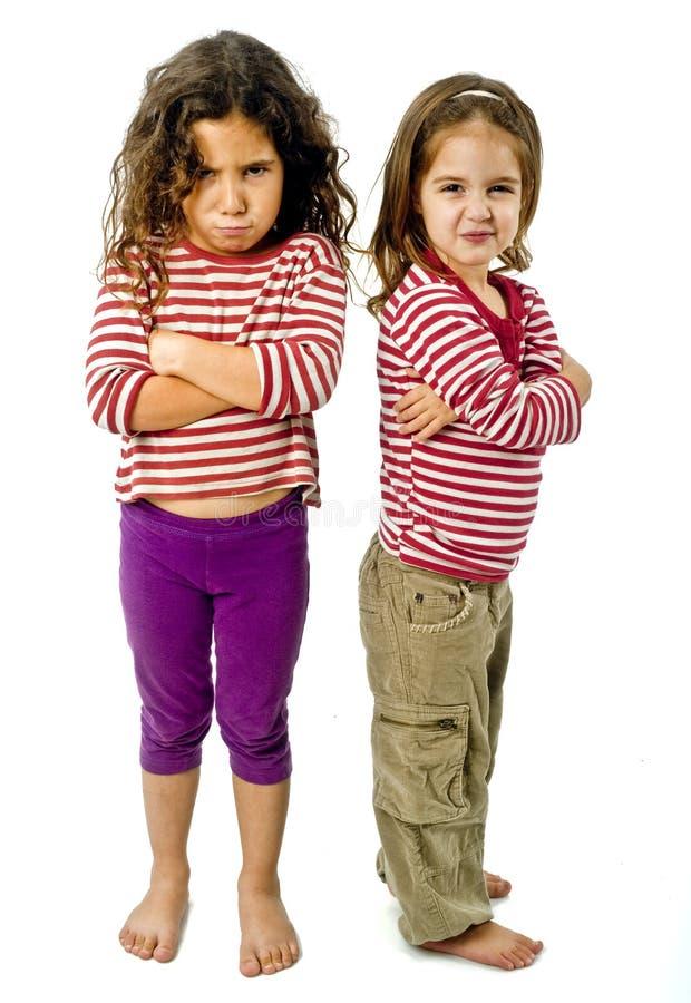 Two girls in quarrel stock photo