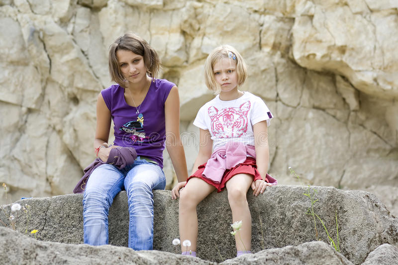 Two girls in the quarry royalty free stock photography