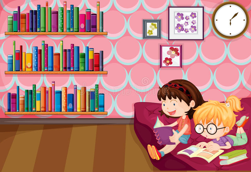 Two girls reading inside the house royalty free illustration