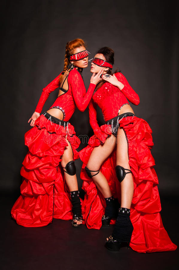 Download Two girls in red stock image. Image of body, disco, full - 33189881