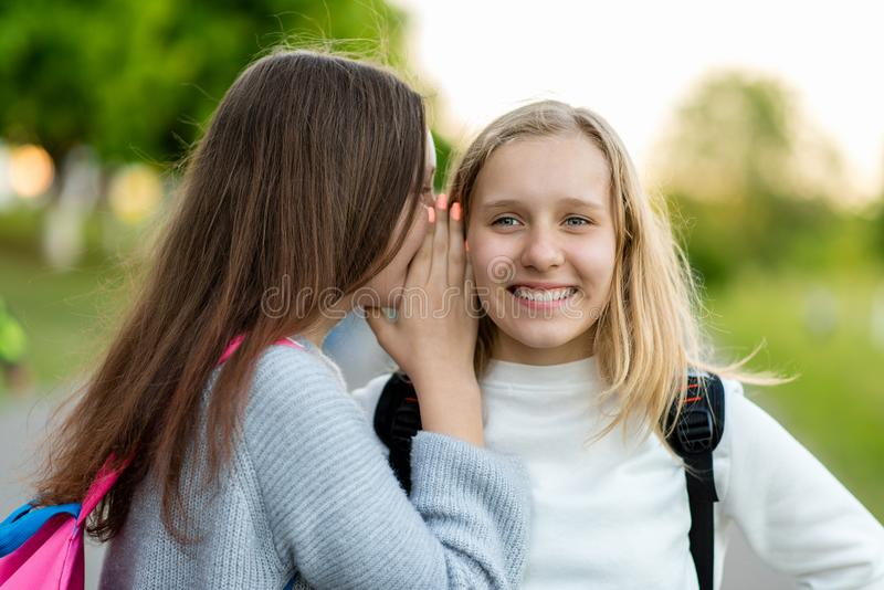 Two girls schoolgirl girlfriends, summer in city on nature. He speaks in his ear. The concept, mystery, surprise, truth. Two girls schoolgirl girlfriends, summer stock photo