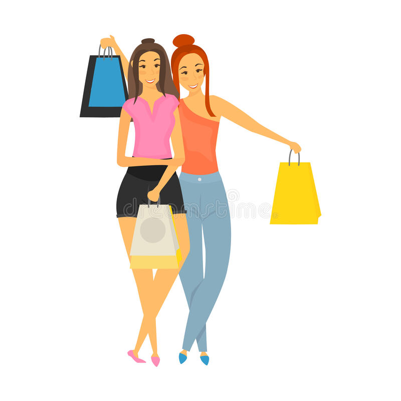 Two girls on a shopping trip color illustration isolated on white stock illustration
