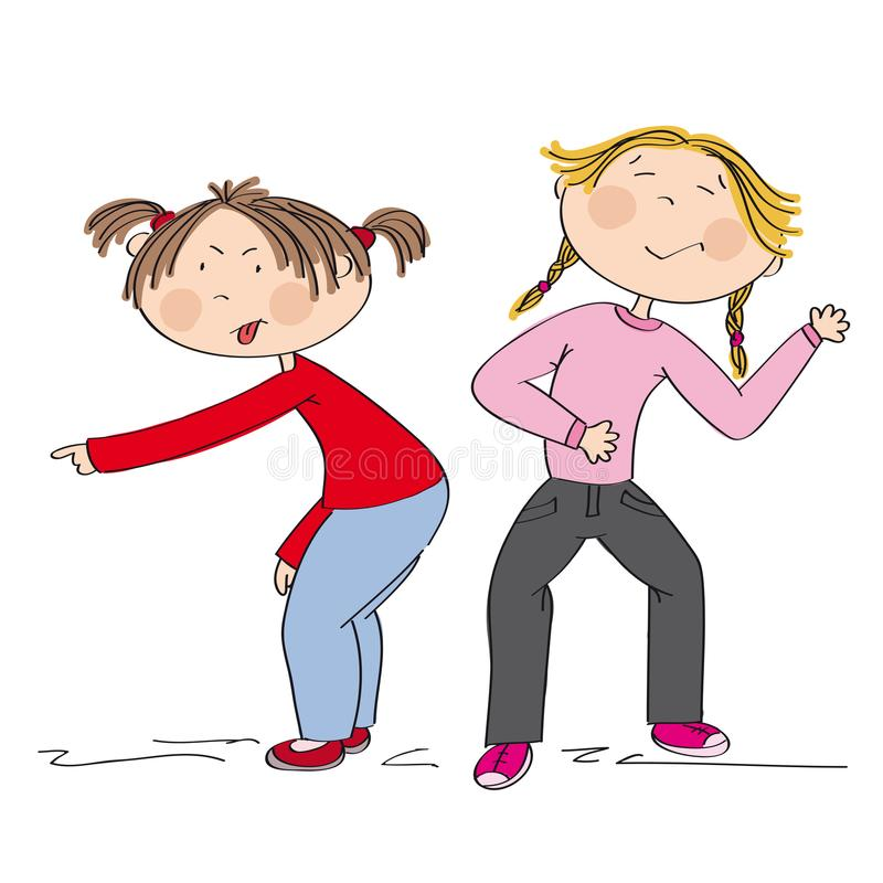 Two girls showing on something, probably offending someone. Children two girls showing on something, probably offending someone, sneering and bullying. One girl royalty free illustration
