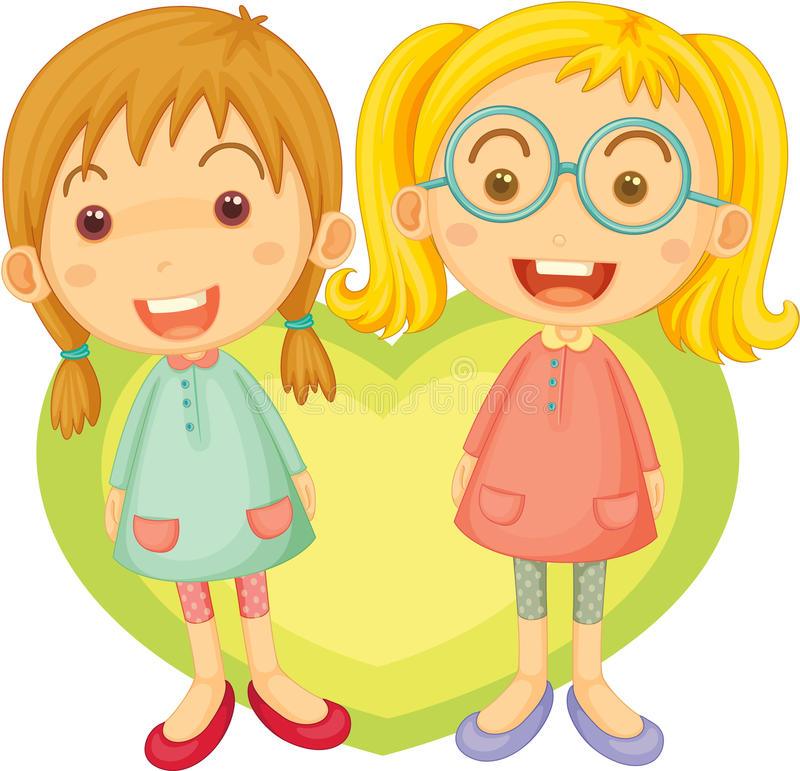 Two Girls Singing stock illustration