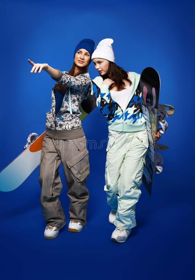Download Two Girls With Snowboards Stock Photos - Image: 19610623