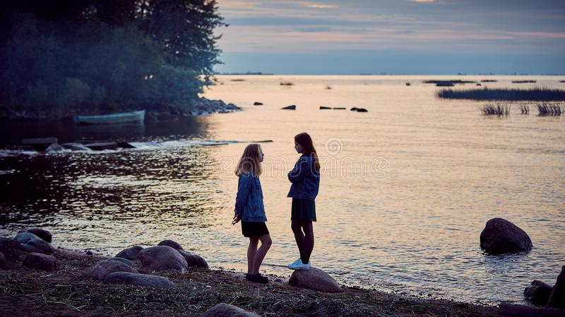 Girls summer secrets royalty free stock photos
