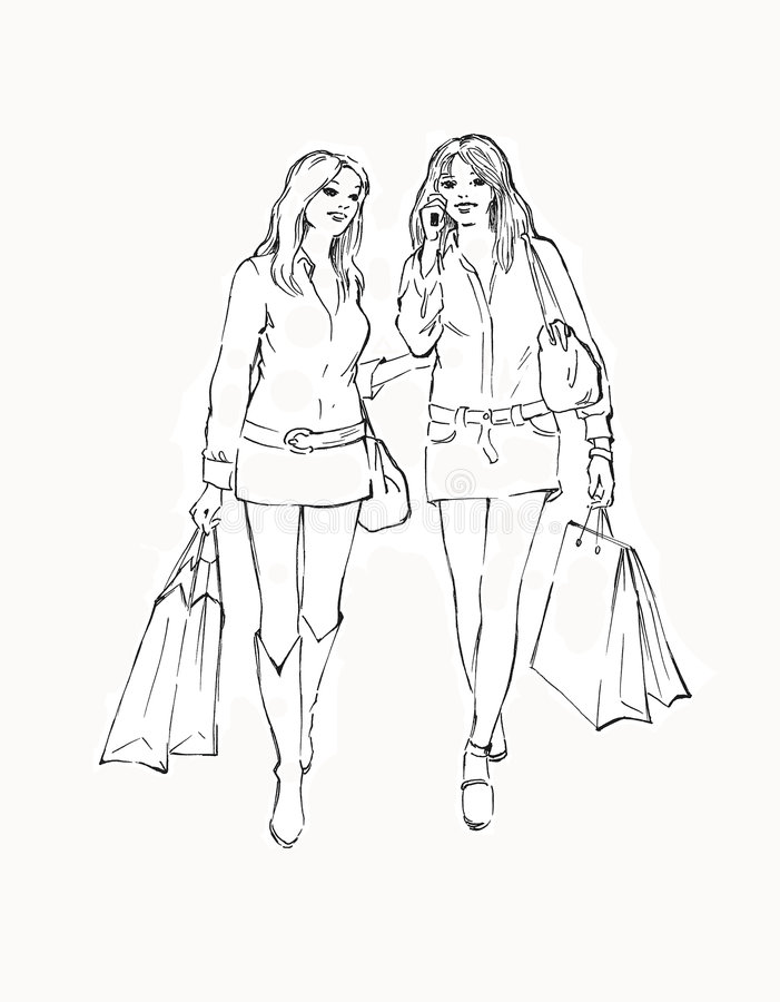 Two girls in the store stock illustration