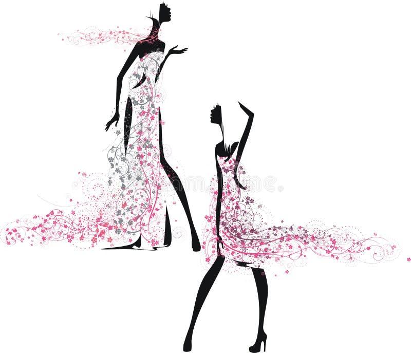 Two girls in summer dresses vector illustration