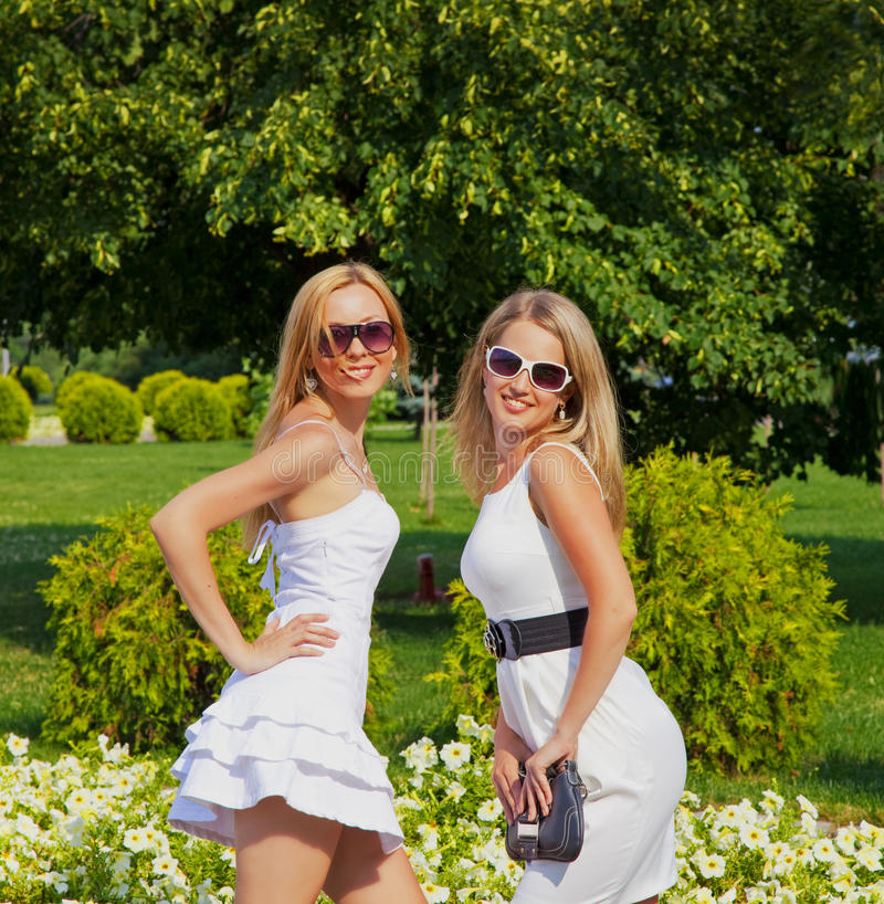 Download Two girls in summer park stock photo. Image of cheerful - 20701136