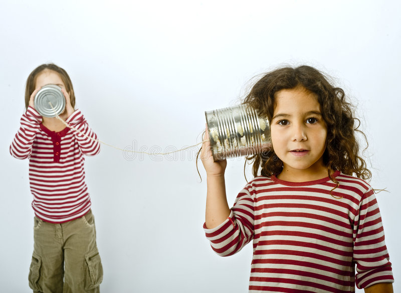Download Two Girls Talking On A Tin Phone Stock Photo - Image of shout, chat: 6825364