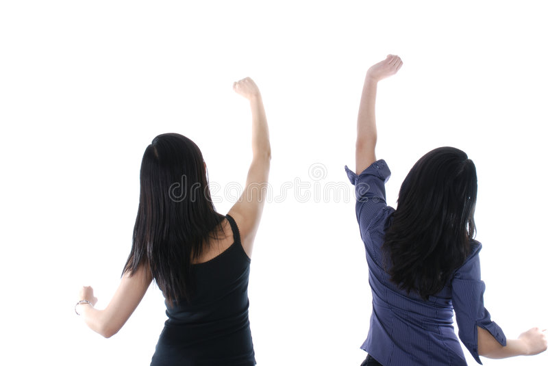 Download Two Girls With Their Hands Up Stock Image - Image: 7654611