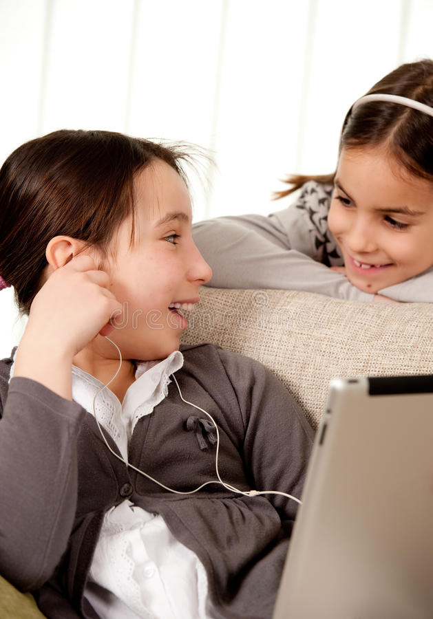 Download Two Girls With Touch Tablet Computer Stock Image - Image: 23344509