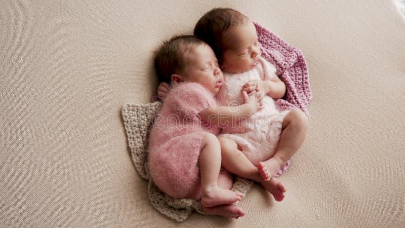 Two twins newborn sleeping royalty free stock photo