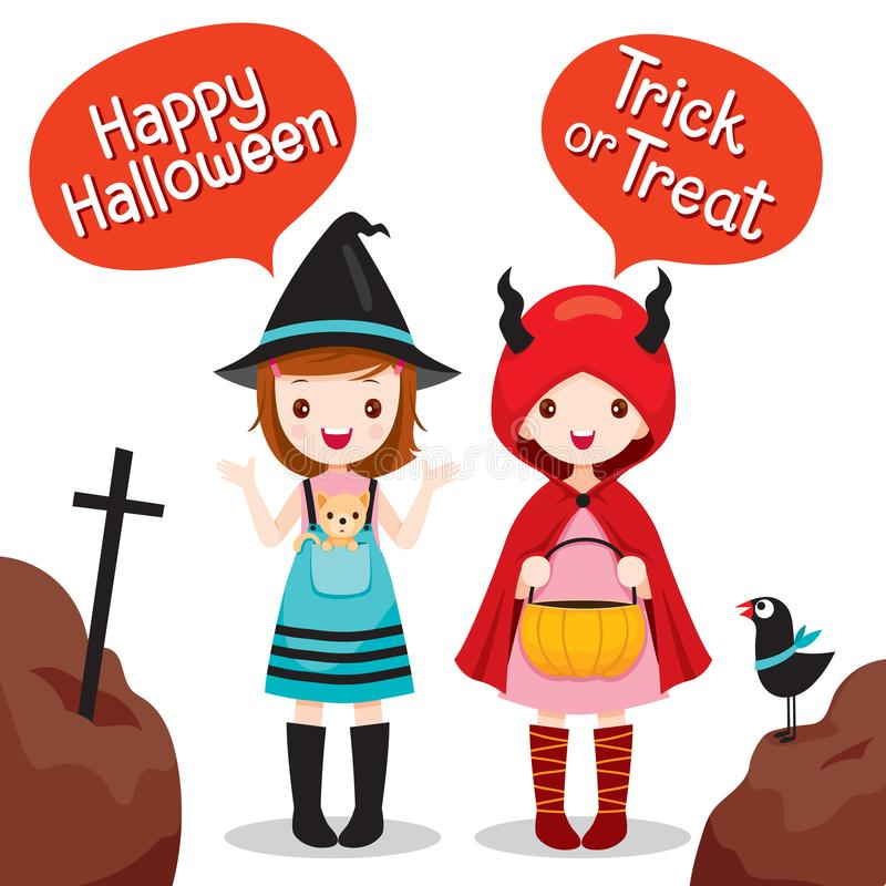 Two Girls Wearing Halloween Costume. Mystery Holiday Culture Halloween Decoration Fantasy Night Party vector illustration