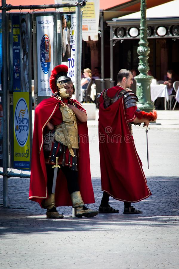 Two gladiators rest royalty free stock images